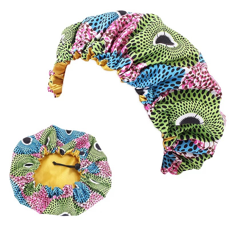 Kids Adjustable African Print Bonnets