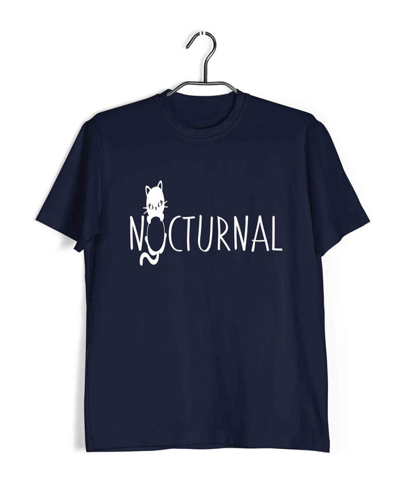 Navy Blue  Aaramkhor Specials Cats NOCTURNAL Custom Printed Graphic Design T-Shirt for Men