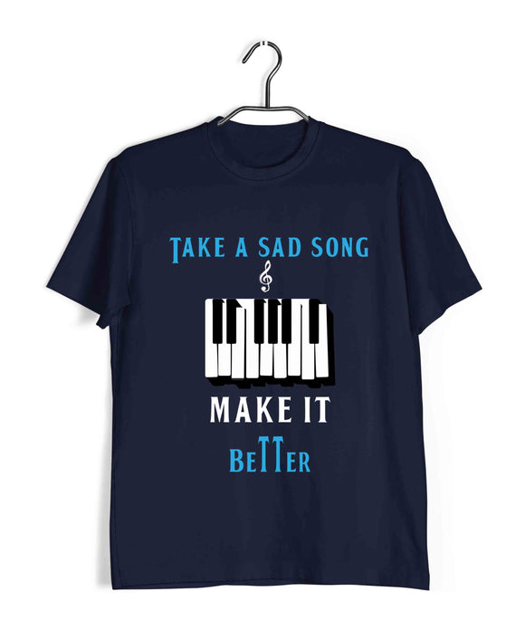 Beatles MUSIC MUSIC TAKE A SAD SONG AND MAKE IT BETTER Custom Printed Graphic Design T-Shirt for Men - Aaramkhor