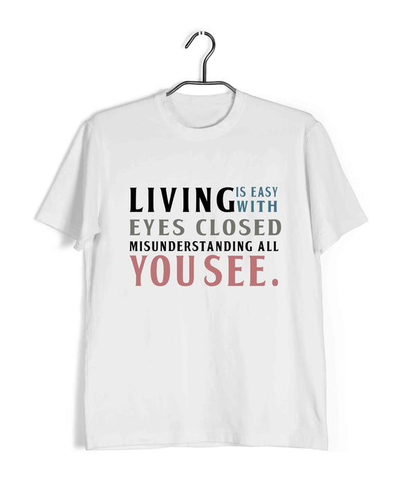 Beatles MUSIC MUSIC LIVING IS EASY WITH EYES CLOSED Custom Printed Graphic Design T-Shirt for Women - Aaramkhor