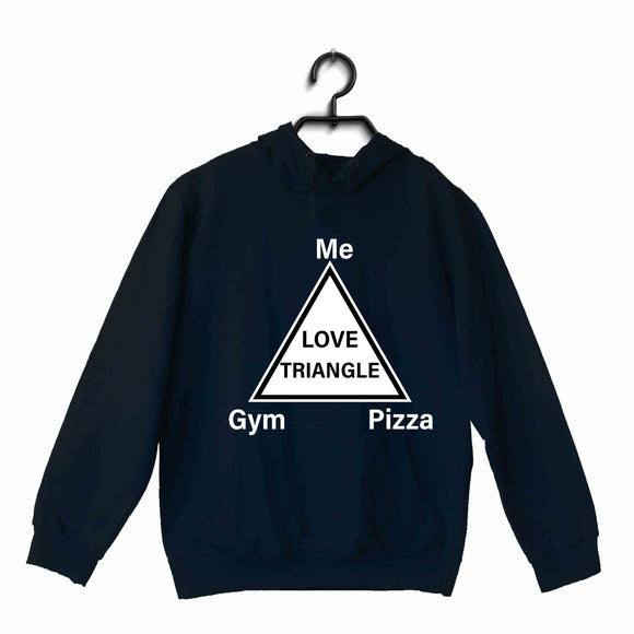 Navy Blue Fitness Fitness Fitness LOVE TRIANGLE UNISEX HOODIE Sweatshirts