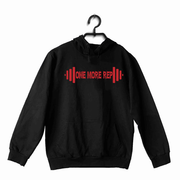 Black Fitness Fitness Fitness ONE MORE REP UNISEX HOODIE Sweatshirts