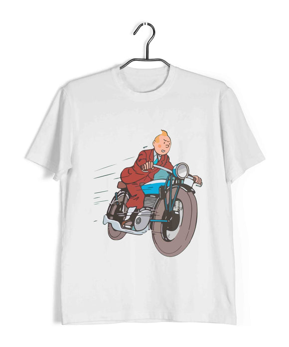 TinTin Comics TinTin BIKE Custom Printed Graphic Design T-Shirt for Men - Aaramkhor