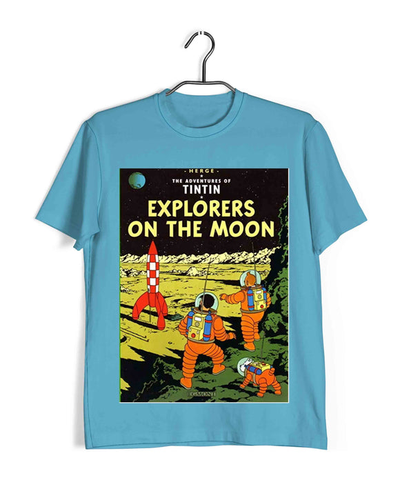 TinTin Comics TinTin EXPLORER ON THE MOON Custom Printed Graphic Design T-Shirt for Men - Aaramkhor