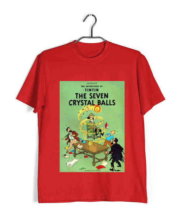 TinTin Comics TinTin THE SEVEN CRYSTAL BALLS Custom Printed Graphic Design T-Shirt for Men - Aaramkhor