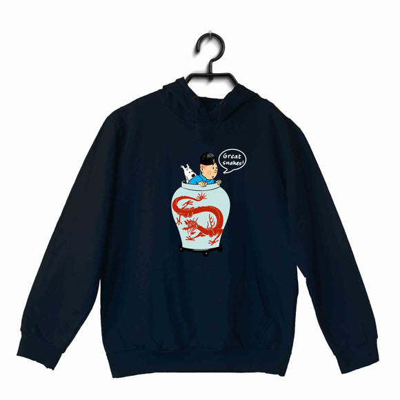 TinTin Comics TinTin THE GREAT SNAKE UNISEX HOODIE Sweatshirts - Aaramkhor
