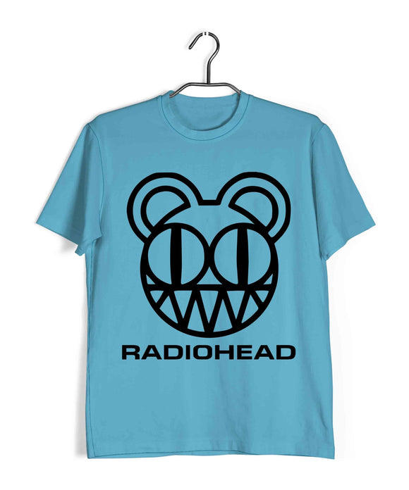 Sky Blue Radiohead MUSIC Radiohead RADIOHEAD LOGO Custom Printed Graphic Design T-Shirt for Men