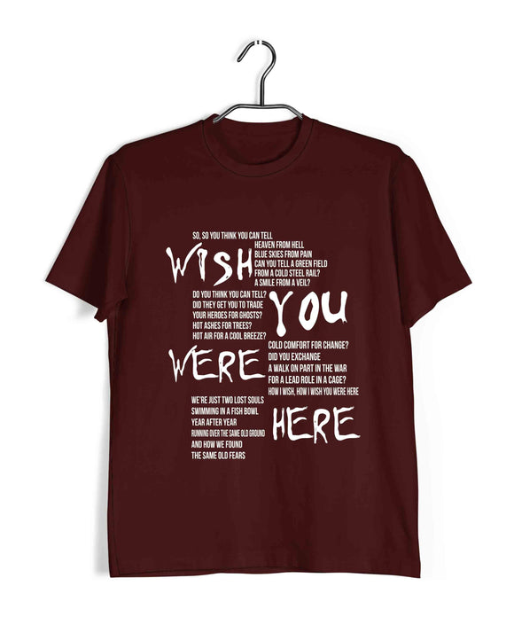 Pink Floyd MUSIC Pink Floyd WISH YOU WERE HERE Custom Printed Graphic Design T-Shirt for Men - Aaramkhor