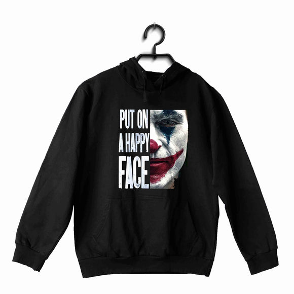 Joker COMICS Joker PUT ON A HAPPY FACE UNISEX HOODIE Sweatshirts - Aaramkhor