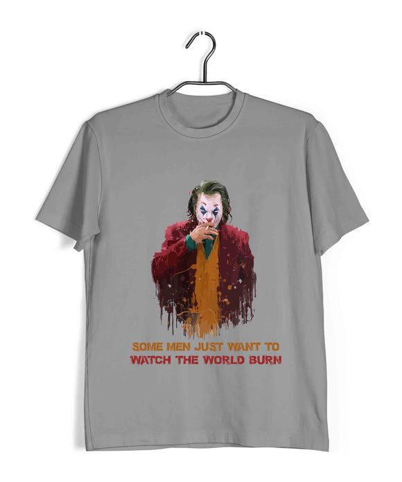 Joker COMICS Joker WATCH THE WORLD BURN Custom Printed Graphic Design T-Shirt for Men - Aaramkhor