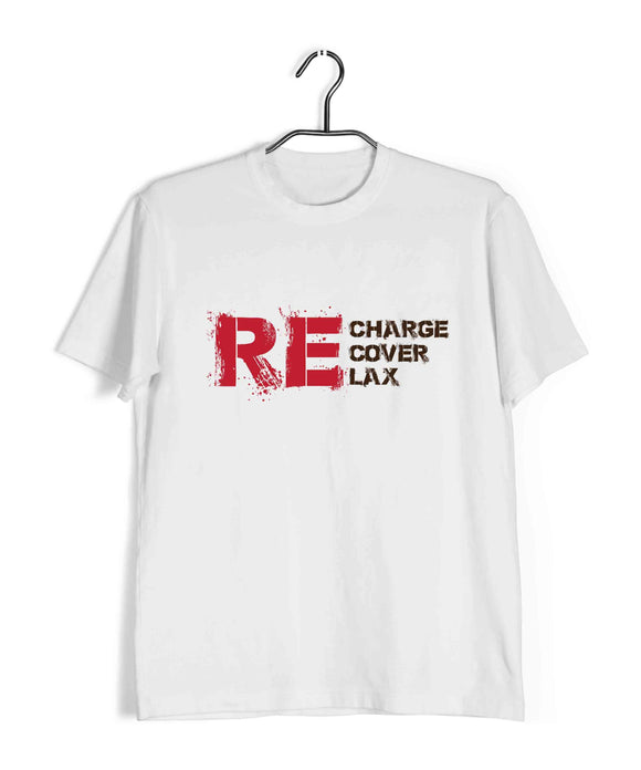 White  Sports Fitness Recharge. Recover. Relax Custom Printed Graphic Design T-Shirt for Men
