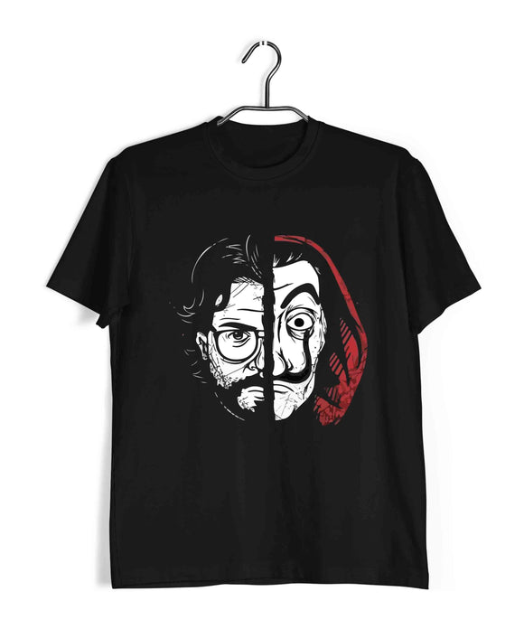 Money Heist TV series Money Heist Half Face - Professor & Dali mask Custom Printed Graphic Design T-Shirt for Men - Aaramkhor