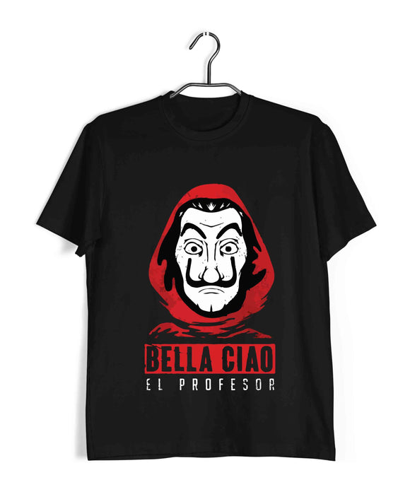 Money Heist TV series Money Heist Bella cio el professor with mask Custom Printed Graphic Design T-Shirt for Men - Aaramkhor
