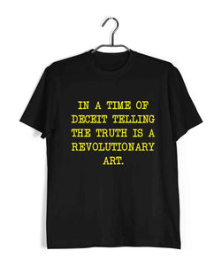 George Orwell Books George Orwell In a time of deceit telling the truth is a revolutionary act. Custom Printed Graphic Design T-Shirt for Men - Aaramkhor