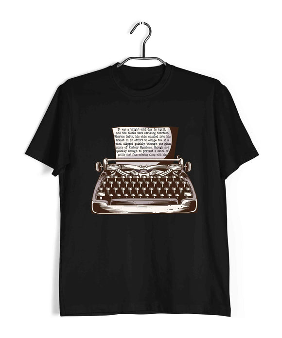 George Orwell Books George Orwell 1984 first paragraph Custom Printed Graphic Design T-Shirt for Men - Aaramkhor