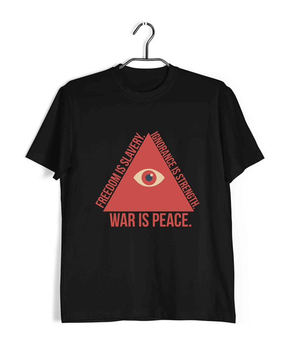 George Orwell Books George Orwell WAR IS PEace. Freedom is Slavery. Ignorance is strength. Triangle Format Custom Printed Graphic Design T-Shirt for Men - Aaramkhor