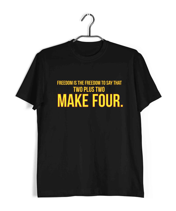 George Orwell Books George Orwell Freedom is the freedom to say that two plus two make four. Custom Printed Graphic Design T-Shirt for Men - Aaramkhor
