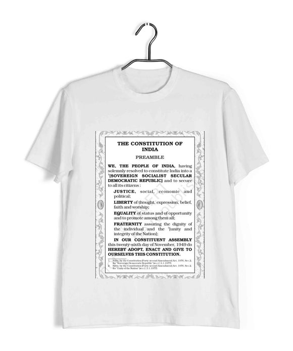 White  Politics Freedom PREAMBLE OF OUR CONSTITUTION Custom Printed Graphic Design T-Shirt for Men