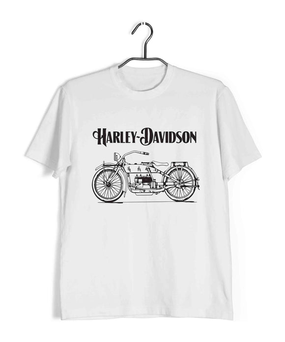 White Biker Travel Travel HARLEY DAVIDSON PATENT DESIGN 1 Custom Printed Graphic Design T-Shirt for Men
