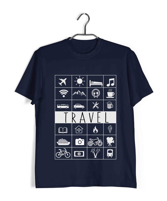 Travel Travel TRAVEL ICONS Custom Printed Graphic Design T-Shirt for Men