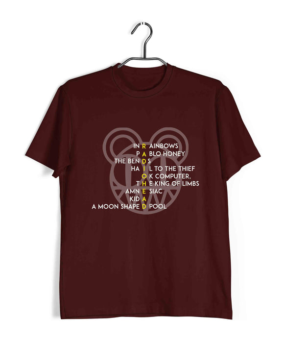 Maroon  Music Radiohead RADIOHEAD Custom Printed Graphic Design T-Shirt for Men