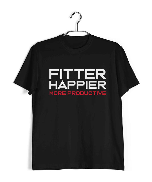 Black  Music Radiohead Fitter Happier More Productive Custom Printed Graphic Design T-Shirt for Men