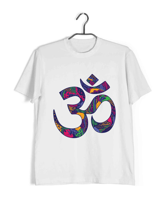 White  Sprituality Shiva OM AUM Custom Printed Graphic Design T-Shirt for Men