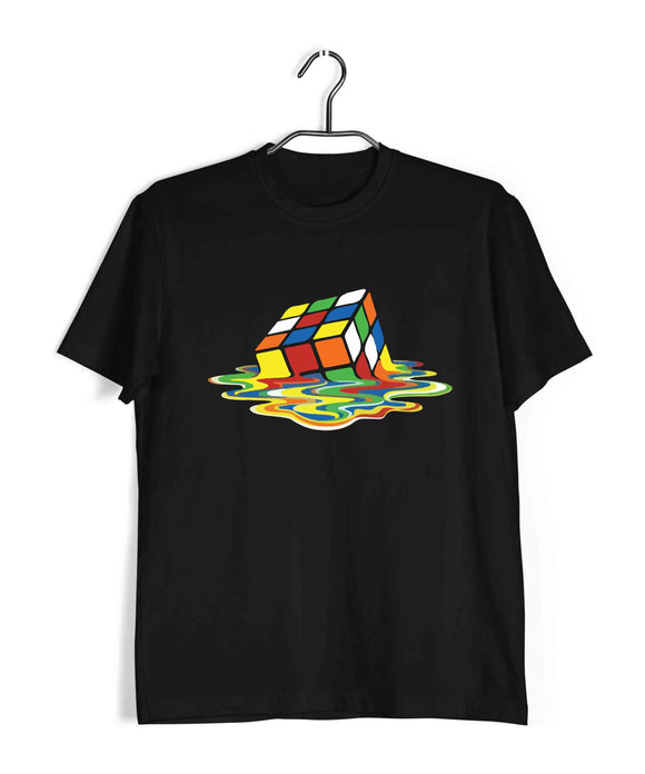 Black  TV Series The Big Bang Theory TBBT MELTING RUBIX CUBE Custom Printed Graphic Design T-Shirt for Men