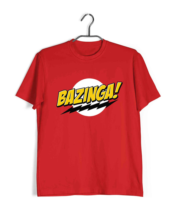 Red  TV Series The Big Bang Theory TBBT BAZINGA WORD AND LOGO Custom Printed Graphic Design T-Shirt for Men