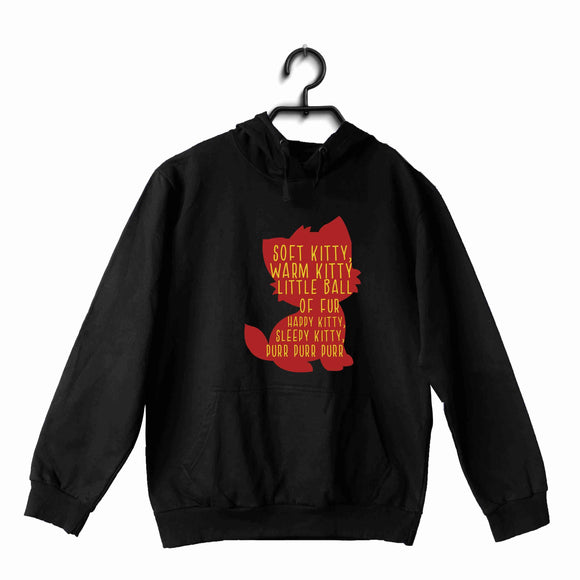 Black  TV Series The Big Bang Theory TBBT SOFT KITTY, WARM KITTY, LITTLE BALL OF FUR, HAPPY KITTY, SLEEPY KITTY, PURR PURR PURR UNISEX HOODIE Sweatshirts