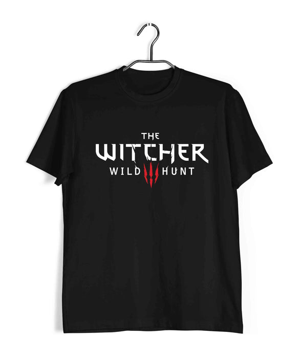 Black  TV Series Video Games The Witcher THE WITCHER LOGO Custom Printed Graphic Design T-Shirt for Men
