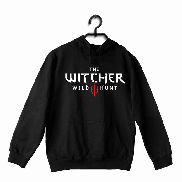 Black  TV Series Video Games The Witcher THE WITCHER LOGO UNISEX HOODIE Sweatshirts