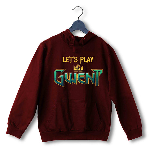 Maroon  TV Series Video Games The Witcher LET'S PLAY GWENT UNISEX HOODIE Sweatshirts