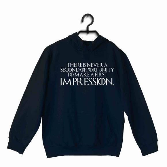Navy Blue  TV Series Video Games The Witcher THERE IS NEVER A SECOND OPPORTUNITY TO MAKE A FIRST IMPRESSION. UNISEX HOODIE Sweatshirts
