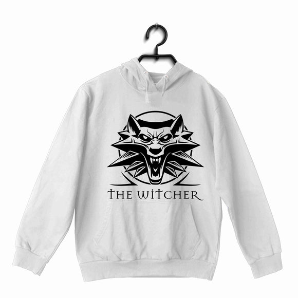 White  TV Series Video Games The Witcher THE WITCHER WITH WOLF UNISEX HOODIE Sweatshirts