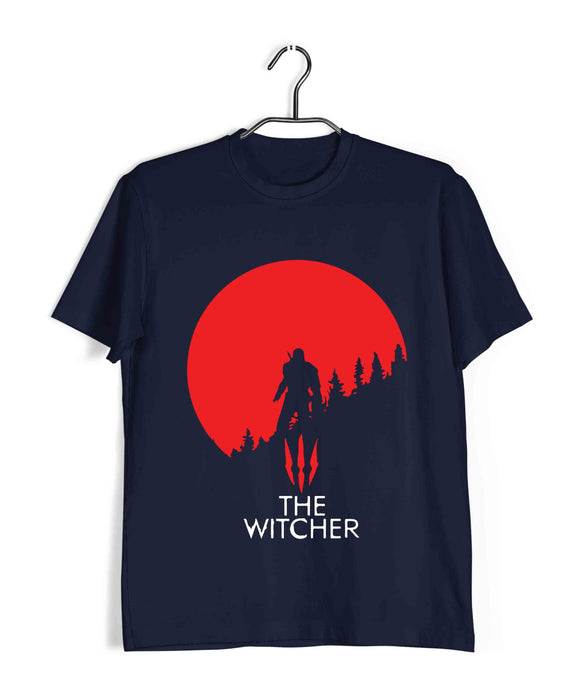 Navy Blue  TV Series Video Games The Witcher THE WITCHER Custom Printed Graphic Design T-Shirt for Men