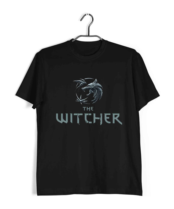 Black  TV Series Video Games The Witcher WOLF Custom Printed Graphic Design T-Shirt for Men