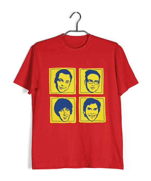 Red  TV Series The Big Bang Theory TBBT GROUP BEATLES FORMAT Custom Printed Graphic Design T-Shirt for Men