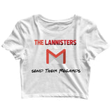 TV Series Games of Thrones (GOT) Lannister Regards Custom Printed Graphic Design Crop Top T-Shirt for Women - Aaramkhor