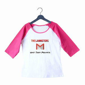 TV Series Games of Thrones (GOT) Lannister Regards Custom Printed Graphic Design Raglan T-Shirt for Women - Aaramkhor