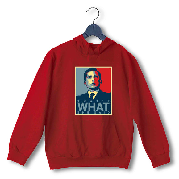 Red  TV Series The Office THA'S WHAT SHE SAID UNISEX HOODIE Sweatshirts