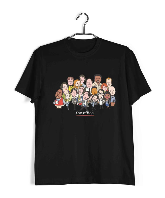 Black  TV Series The Office MASH CARTOON CHARACTERS Custom Printed Graphic Design T-Shirt for Men