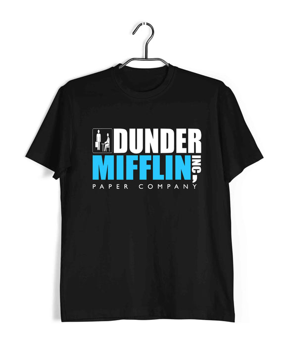 Black  TV Series The Office DUNDER MIFFIN Custom Printed Graphic Design T-Shirt for Men