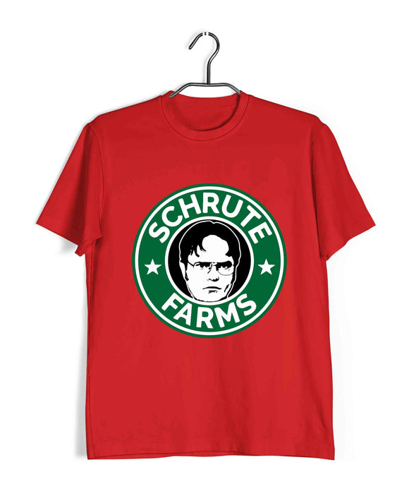Red  TV Series The Office SCHRUTE FARMS Custom Printed Graphic Design T-Shirt for Men