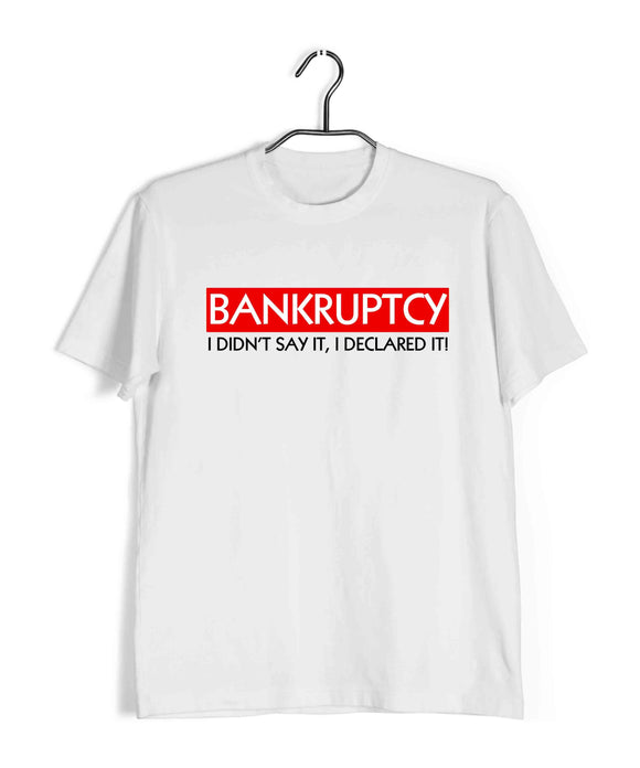 White  TV Series The Office BANKRUPTCY Custom Printed Graphic Design T-Shirt for Men