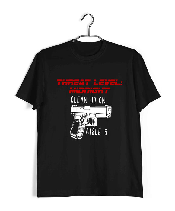 Black  TV Series The Office THREAT LEVEL: MIDNIGHT Custom Printed Graphic Design T-Shirt for Men