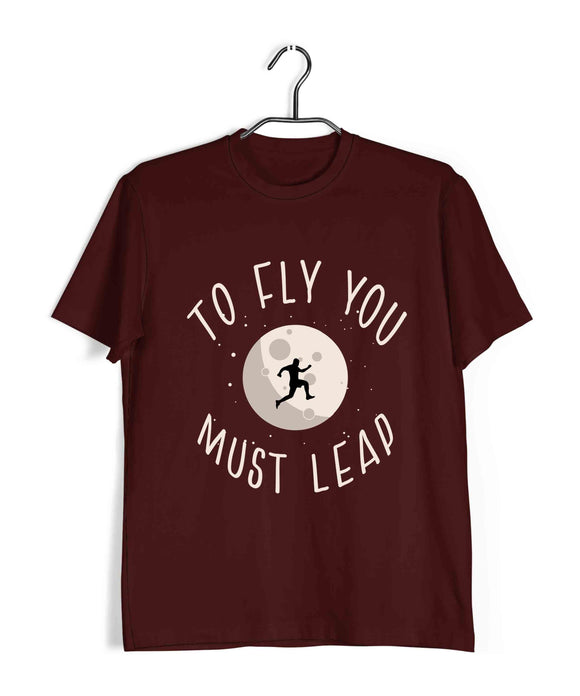 Maroon  Fitness Fitness TO FLY YOU MUST LEAP Custom Printed Graphic Design T-Shirt for Men
