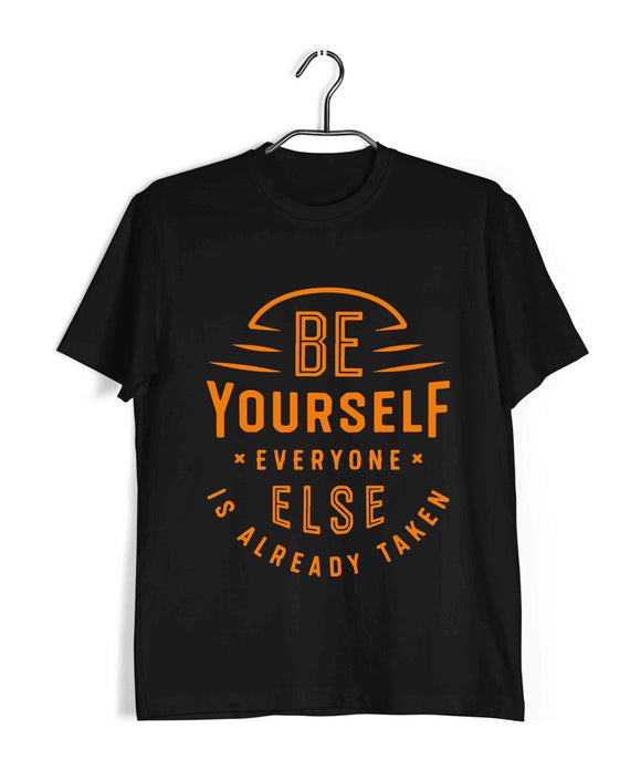 Black  Fitness Fitness BE YOURSELF Custom Printed Graphic Design T-Shirt for Men