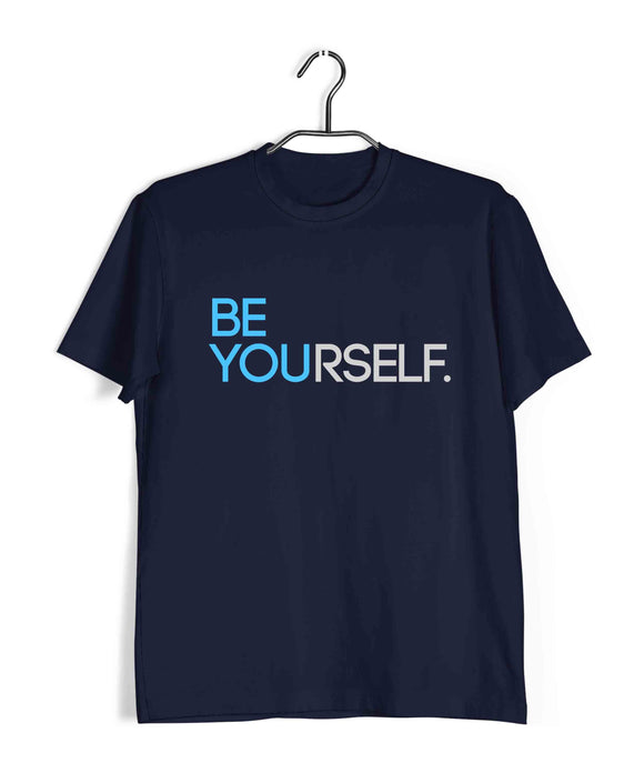 Navy Blue  Fitness Fitness BE YOURSELF Custom Printed Graphic Design T-Shirt for Men