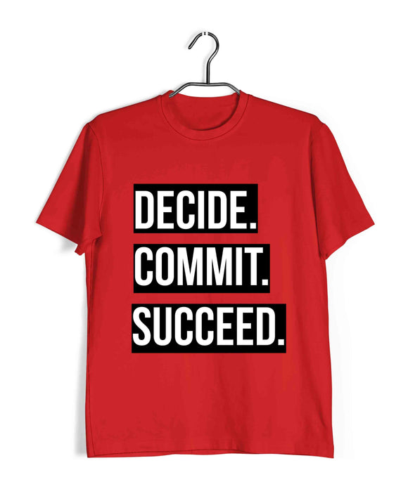 Red  Fitness Fitness DECIDE COMMIT SUCCEED Custom Printed Graphic Design T-Shirt for Men